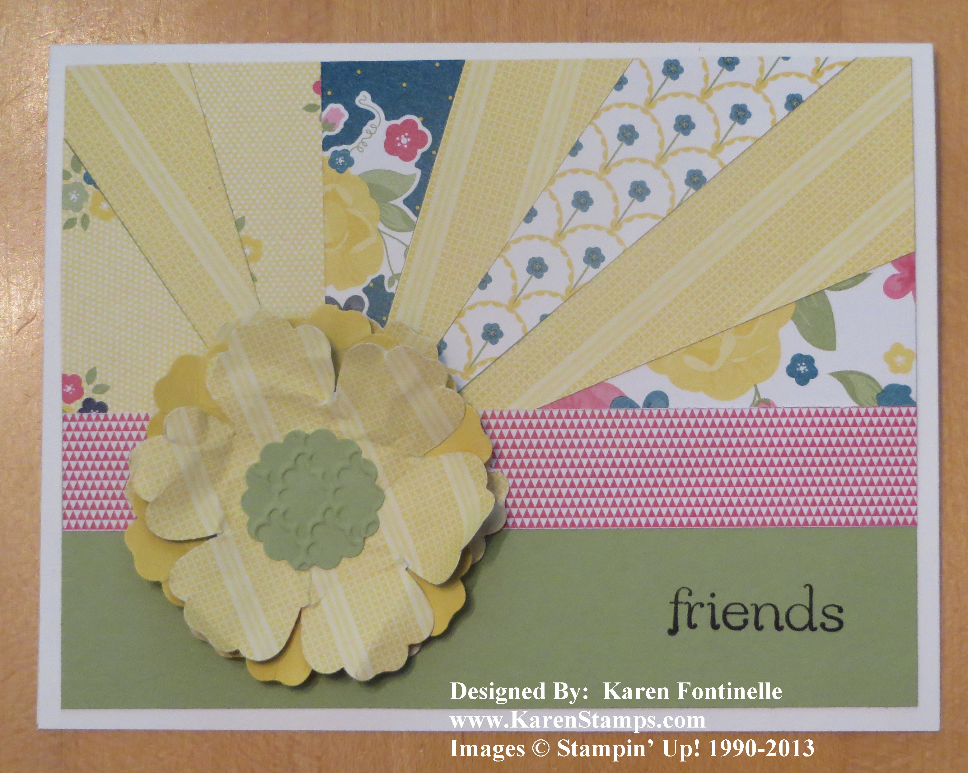 Gingham Garden Summer Sunburst Card