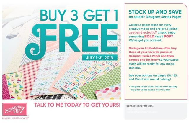 Stampin' Up! Special Promotion Buy 3 Get 1 Free Designer Series Paper