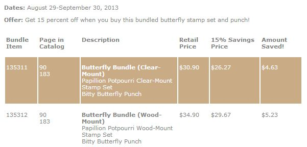 Stampin' Up! Butterfly Bundle Prices Save 15%
