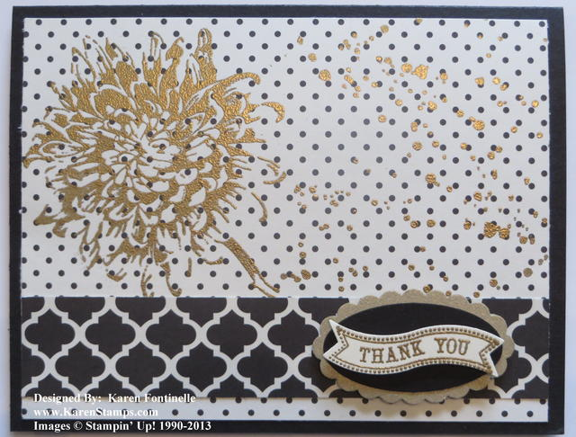 Gold Embossed Blooming with Kindness Modern Medley Thank You Card