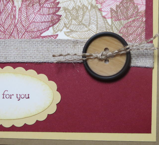 Using frayed Burlap Ribbon on Naturals Designer Button