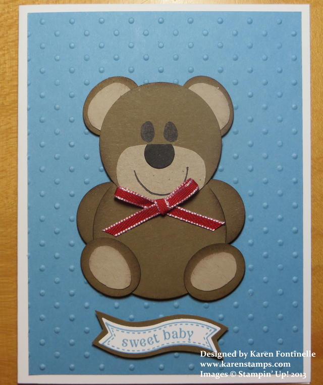 Teddy Bear Punch Art Baby Card