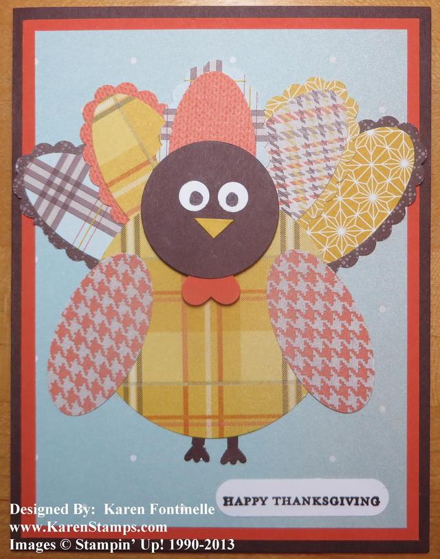 Punch Art Turkey Thanksgiving Card
