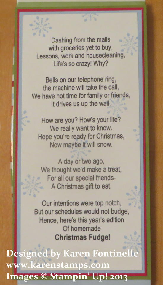 Christmas Fudge Candy Wrapper Poem
