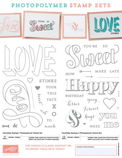 Countless Sayings Stamp Sets 1 & 2 Photopolymer Sets