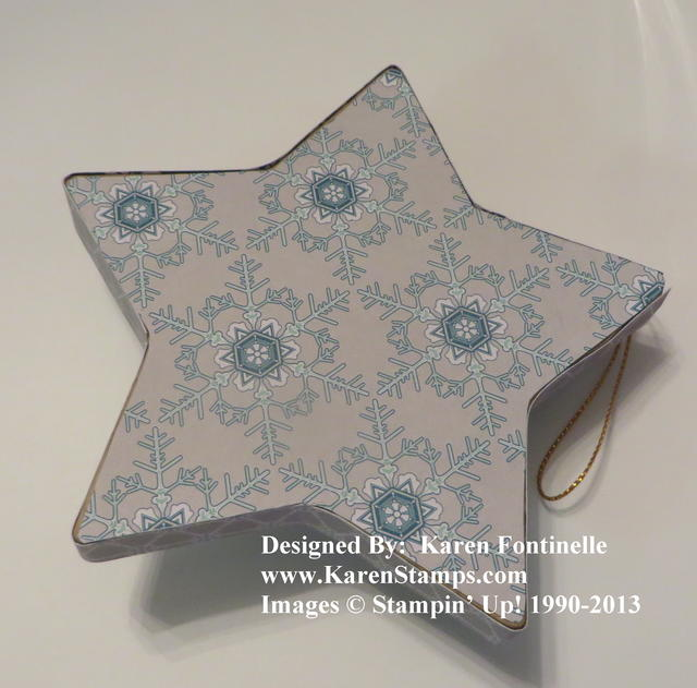 Paper Mache Winter Frost Star Ornament Back