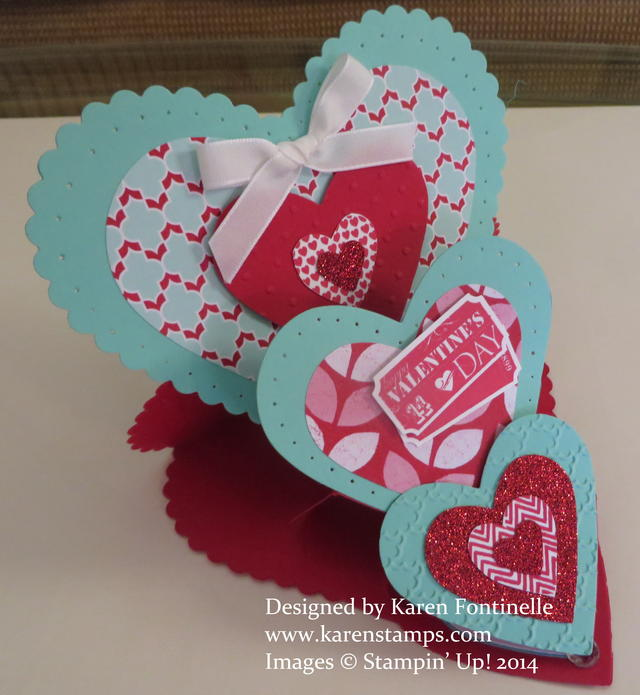 Triple Heart Easel Valentine Card