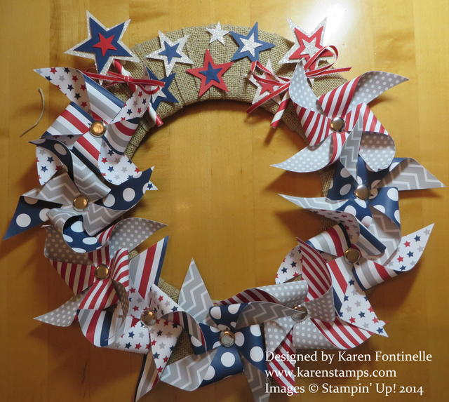 Paper Pumpkin Patriotic Pinwheel Wreath