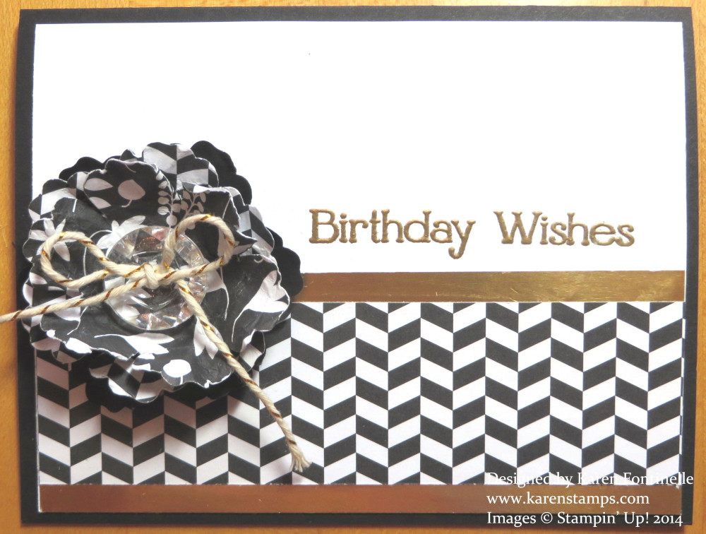 Back To Black With Gold Birthday Card Stamping With Karen