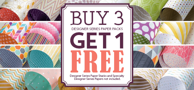 Buy 3 Get 1 Free Designer Series Paper Stampin' Up! July Offer