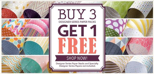 Stampin' Up! Designer Series Paper Buy 3 Get One Free Offer