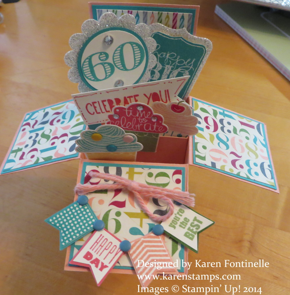 Pop up box 60th birthday card stamping with karen pop up box card 60th birthday bookmarktalkfo Choice Image