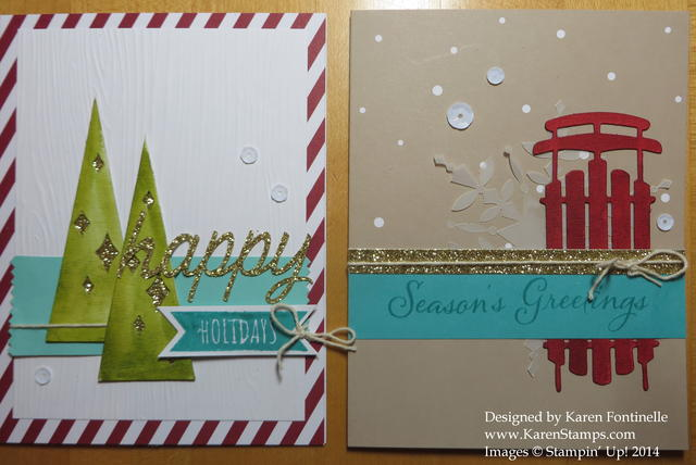 Watercolor Winter Trees and Sled Cards