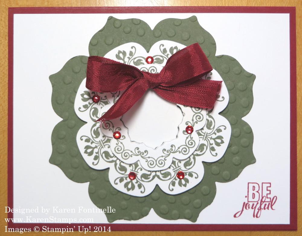 Floral Frames Framelits Wreath Christmas Card   Stamping With Karen