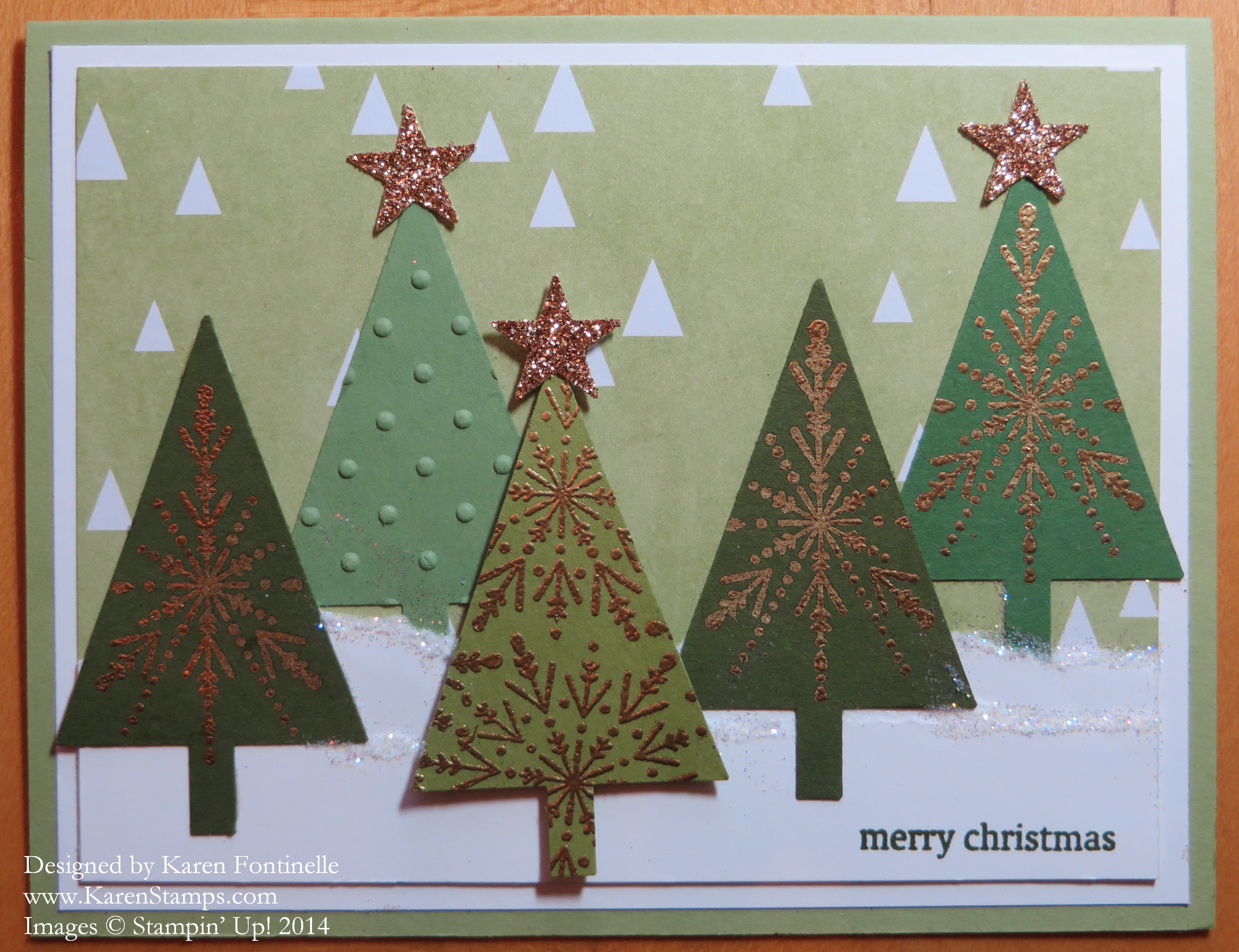 Many Merry Stars Christmas Tree Card