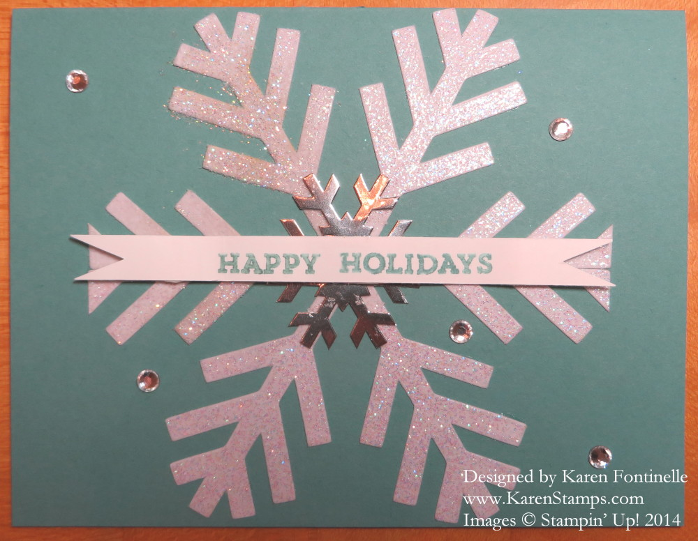Nov Paper Pumpkin Iridescent Ice Snowflake Christmas Card