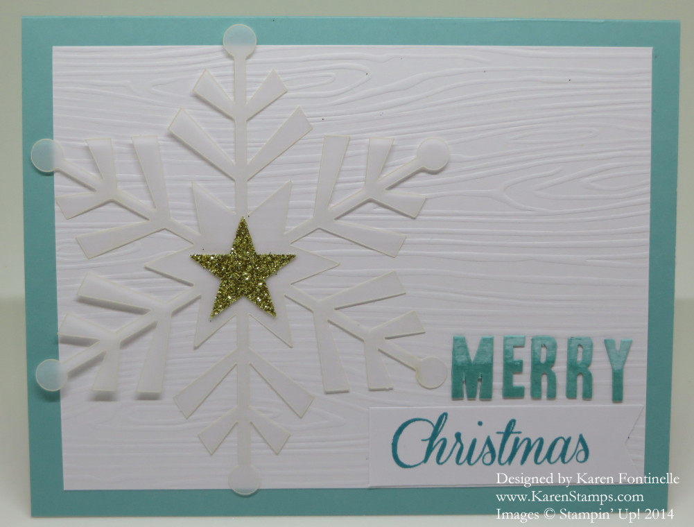 Watercolor Winter Card Bermuda Bay Snowflake