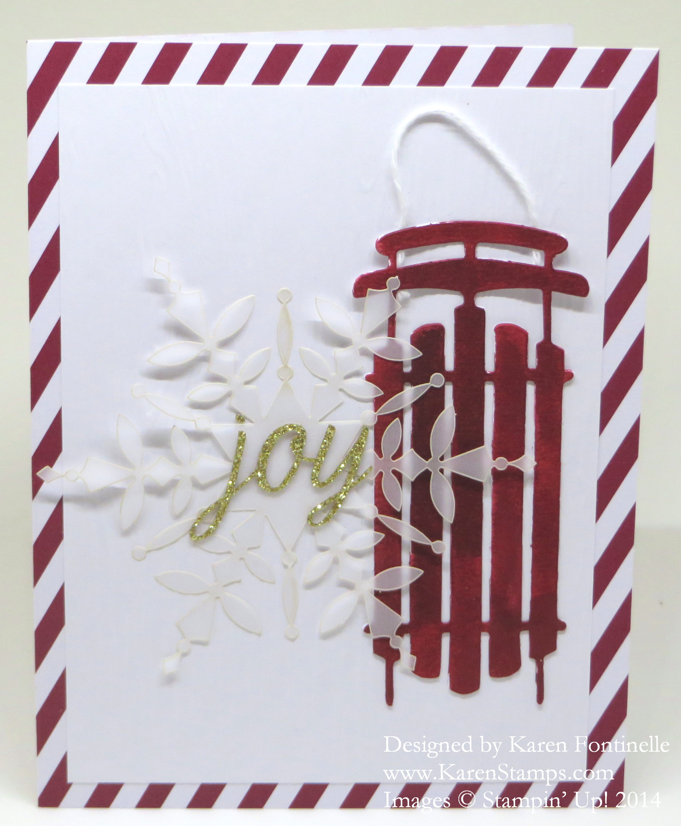 Watercolor Winter Card Sled Joy Snowflake