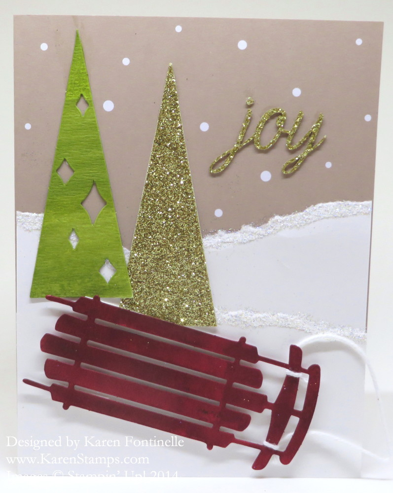 Watercolor Winter Joy Sled Card