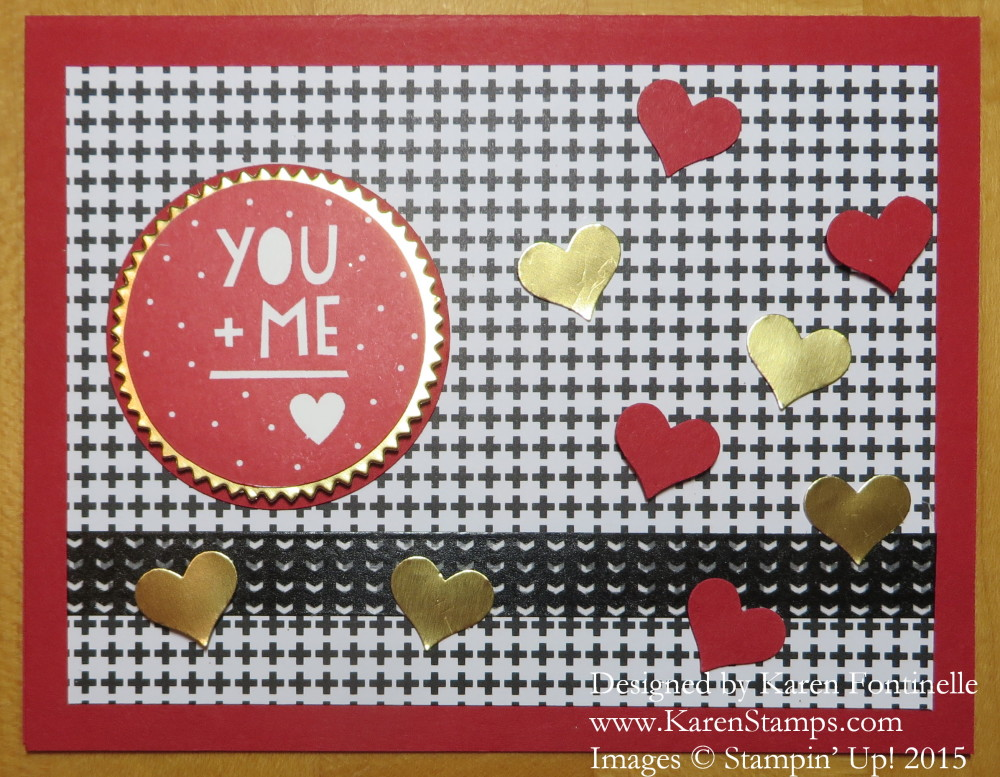 You Plus Me Confetti Hearts Valentine Card