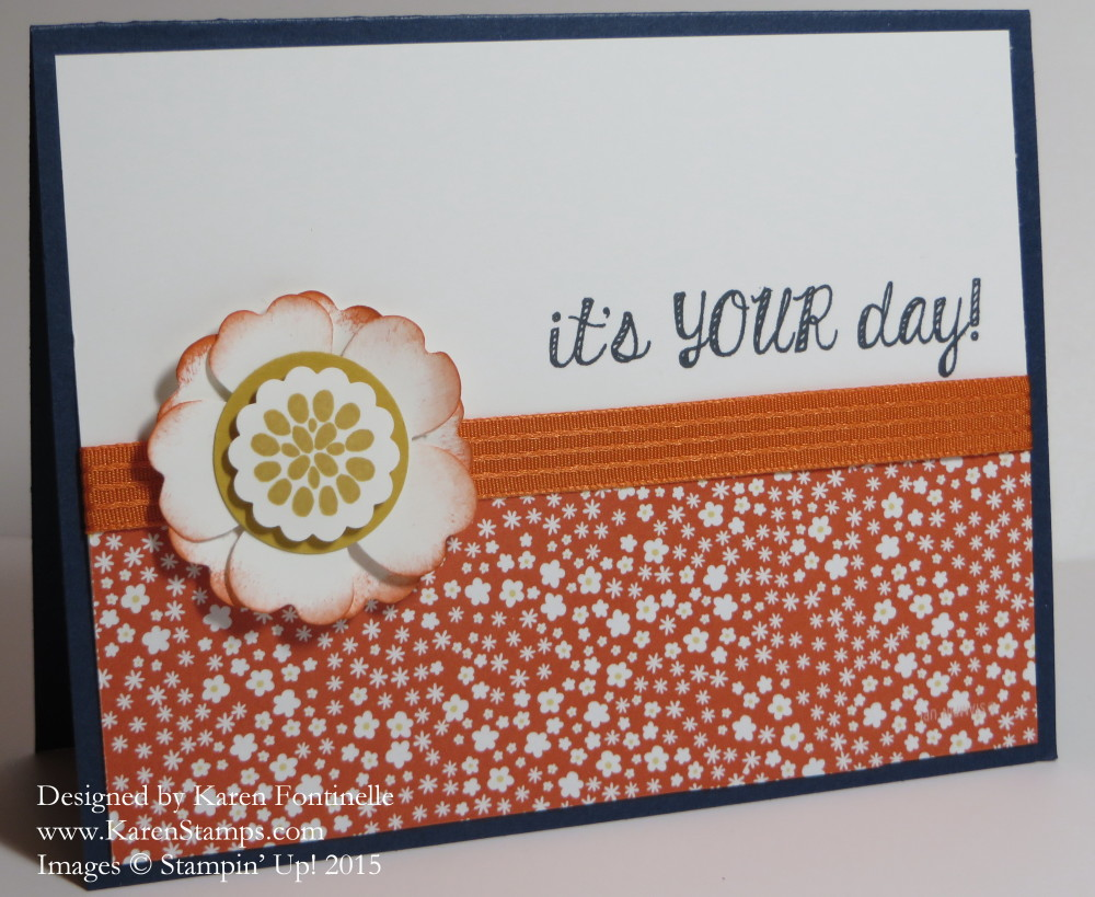 Flower Pot Orange and Blue Pansy Punch Flower Card