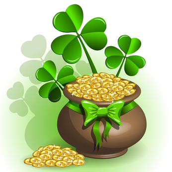 St. Patricks Day Pot of Gold and Lucky Shamrocks