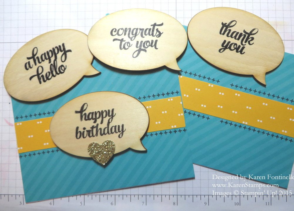 Tin of Cards Wooden Word Bubble Embellishments