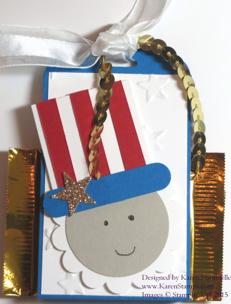 4th of July Uncle Sam Scalloped Tag Topper Treat Holder