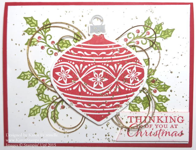 Embellished Ornaments Christmas Card with Gold Glitter