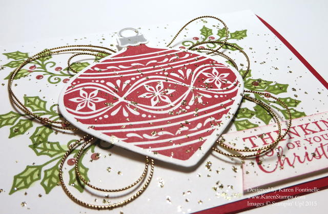 Embellished Ornaments Christmas Card close up
