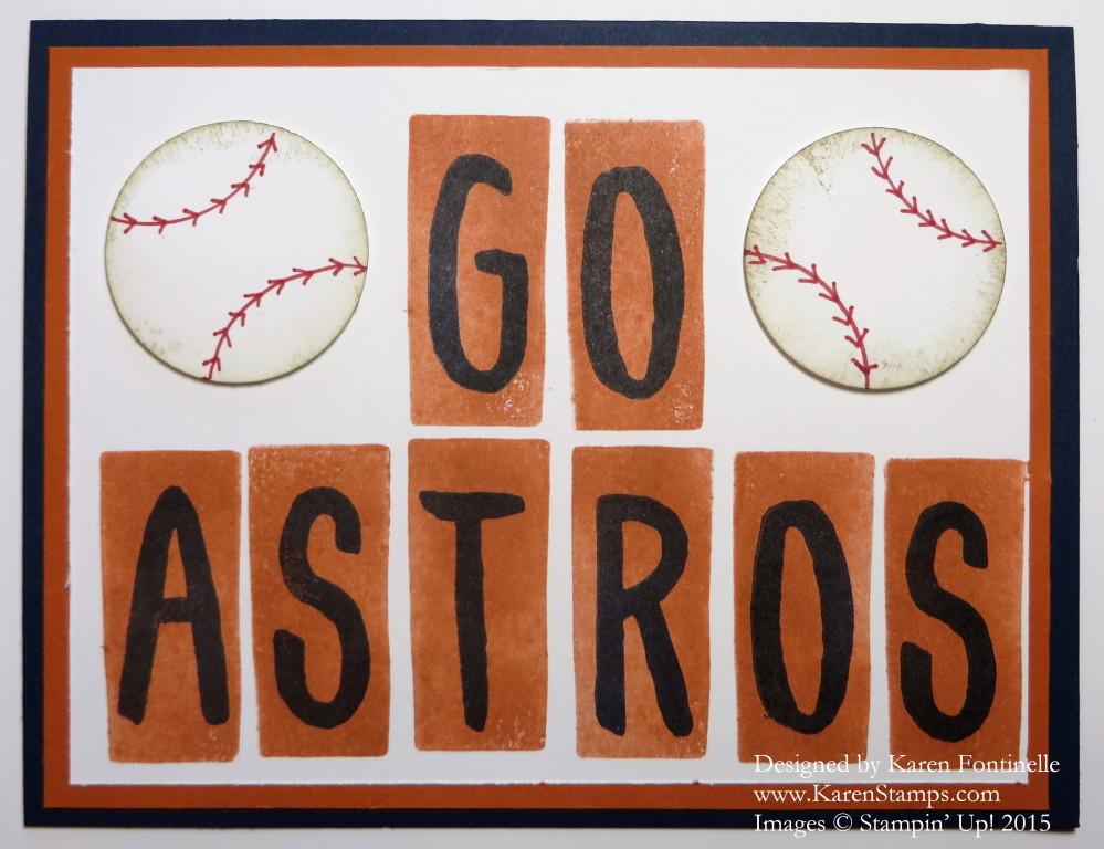 Go Houston Astros Baseball Card Stamping With Karen