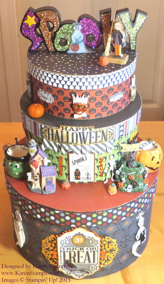 Halloween Tower of Paper Mache Boxes Home Decor