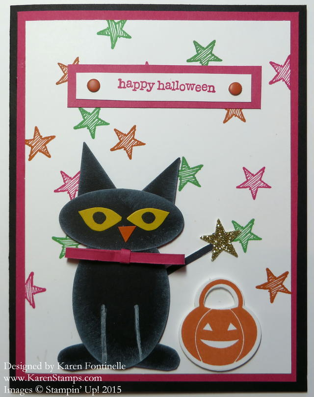 Punch Art Black Cat Halloween Card