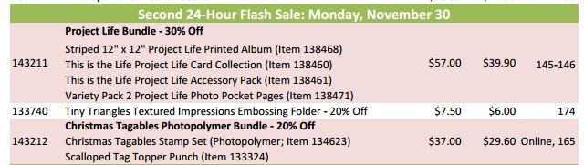 Stampin' Up! Flash Sale Nov 30 2015