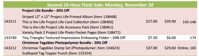 Stampin' Up! Flash Sale Nov 30 2015