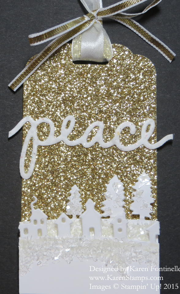 Gold Glimmer Sleigh Ride Thinlits Peace Christmas Tag