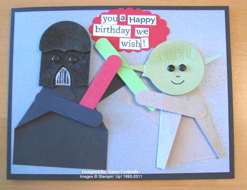 Star Wars Birthday Card Yoda and Darth Vader