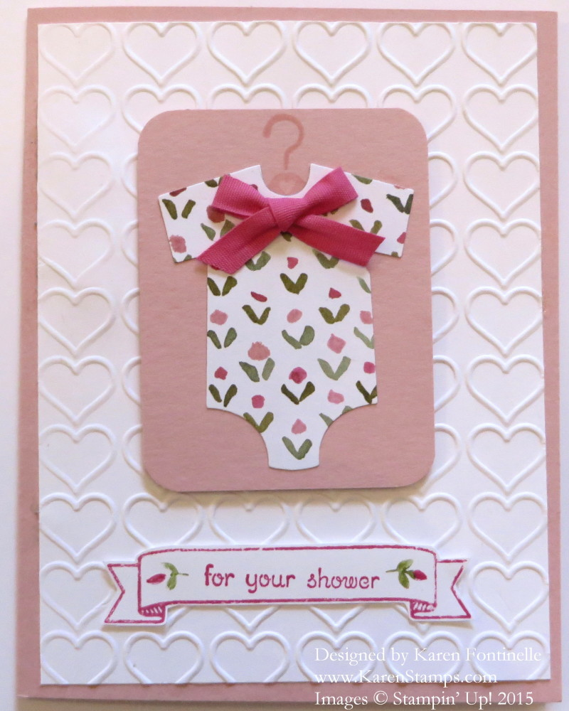 card for a baby shower stamping with karen