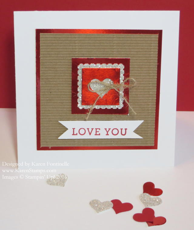 Kraft Corrugated Red Foil Glimmer Valentine