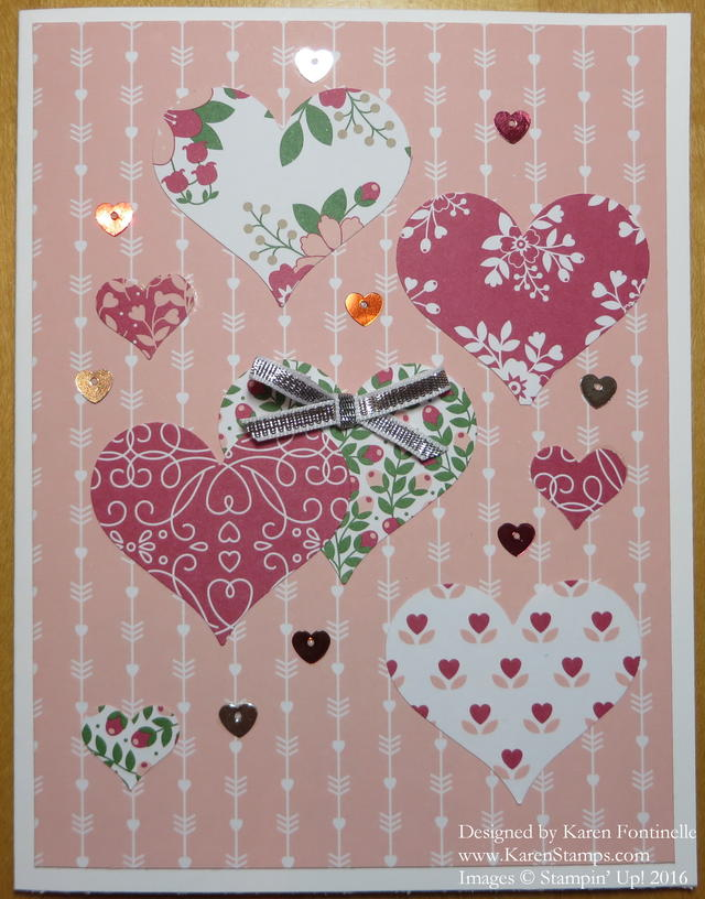 Love Blossoms Punched Hearts Valentine Card
