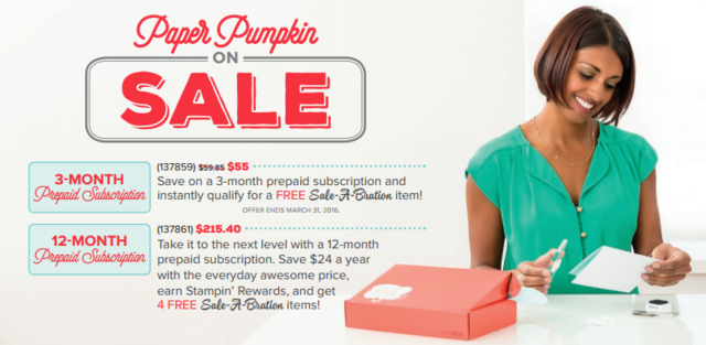Save $5 on a 3-Month Prepaid Paper Pumpkin Subscription