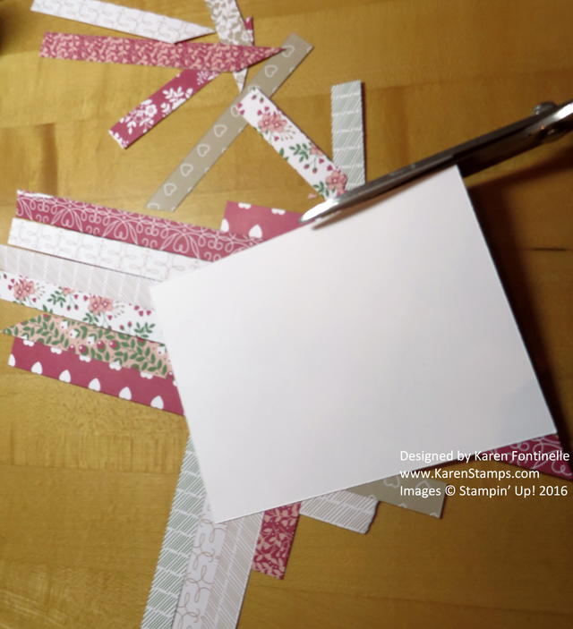 Paper Strip Quilt Valentine Card Trimming