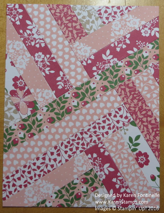 Paper Strip Quilt Valentine Card pieced