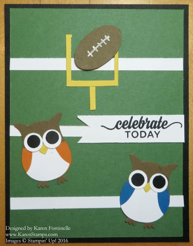Super Bowl Sunday 2016 Football Owl Punch Card