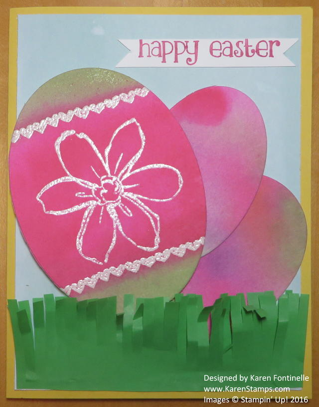 Emboss Resist Watercolor Easter Egg Card