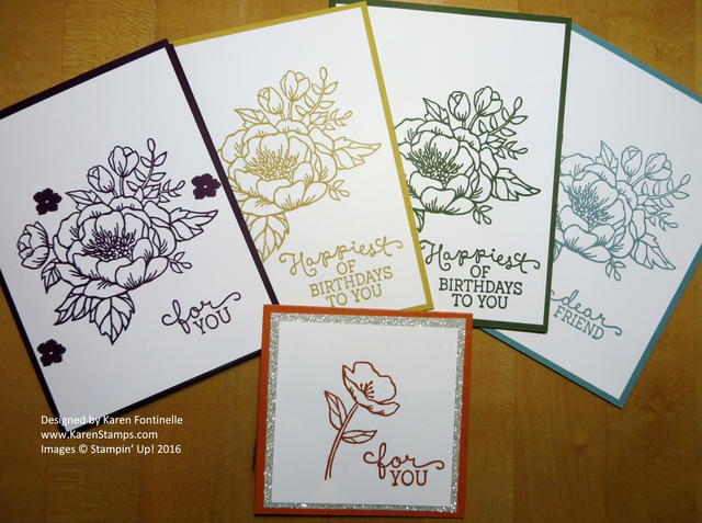 In Color Birthday Blooms Monochromatic Cards