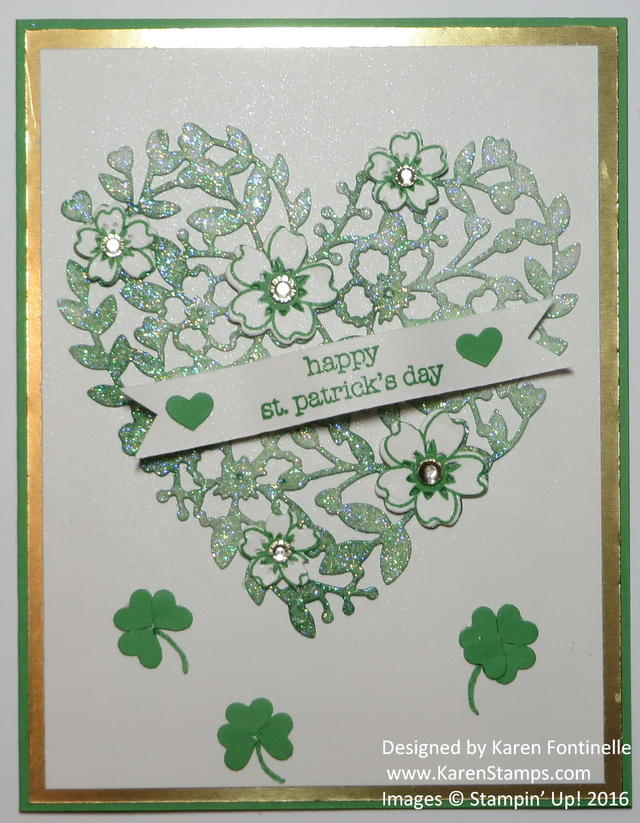 St. Patrick's Day Bloomin' Love Heart Card