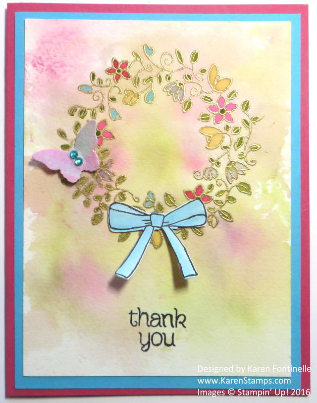 Circle of Spring Embossed Wreath Watercolor Thank You Card