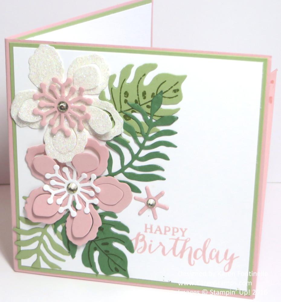 Botanical Pop Up Corner Birthday Card Inside