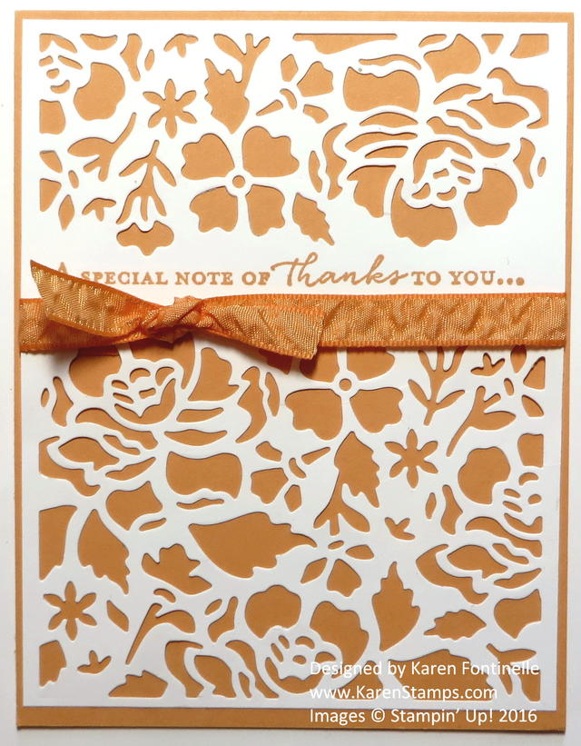Floral Thinlits Thank You Card in Peekaboo Peach